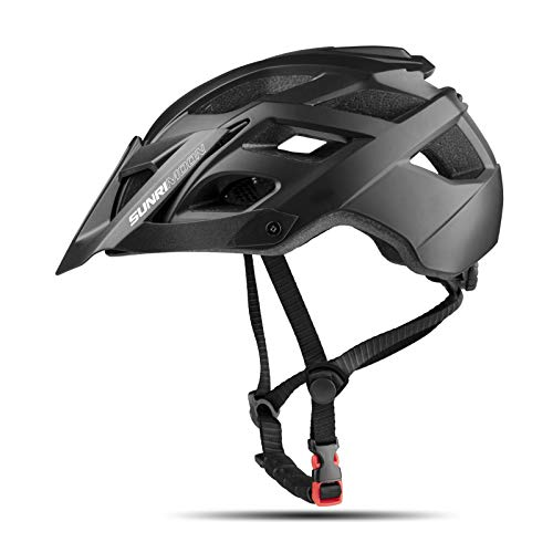 Mountain Bike Helmet for Adult Men Women,MTB Cycle Helmet with USB Light & Detachable Visor Safety Protection Lightweight Adjustable Racing Cycling Mountain & Road Bicycle Helmets 22.44-24.41 Inches