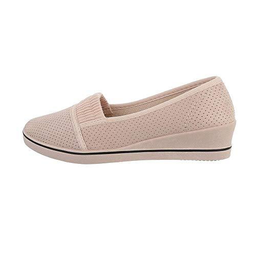 Ital Design Slipper Damen-Schuhe Slipper Slipper Halbschuhe Beige Rosa, Gr 37, 1305-