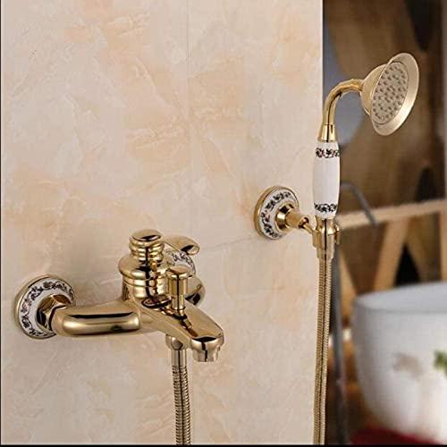 DFGBXCAW Juego de grifos de baño de Pared para Ducha Grifo de Ducha clásico de una manija con Base de cerámica de latón Dorado 2