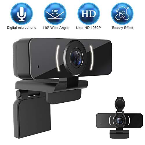 LarmTek 1080P Webcam mit Mikrofon-und Datenschutzabdeckung,Webkamera-USB-Kamera,Computer-HD-Streaming-Webcam für PC Desktop & Laptop mit Mikrofon