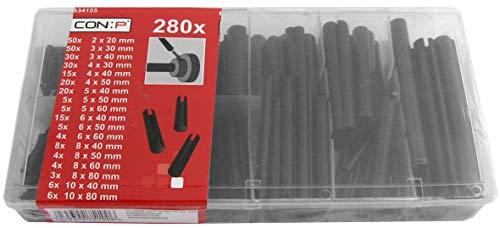Werkzeyt Spannhülsen-Sortiment 280-teilig - Diverse Größen im Set - Vorsortiert in praktischer Kunststoffbox / Hohlsplinte / Hohlspannstifte / Sortimentskasten / B34155