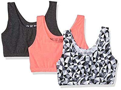 Fruit of the Loom Women's Built-Up Sports Bra 3 Pack Bra, Kaleidoscope/Charcoal/Punchy Peach, 44