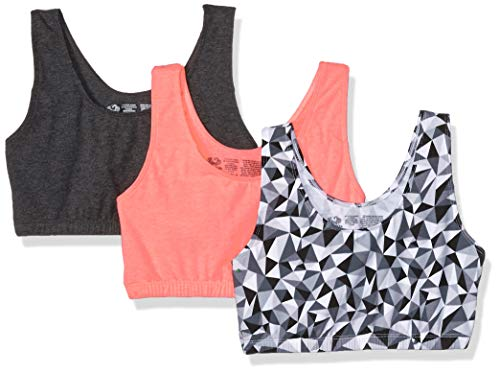 Fruit of the Loom Women's Tank Style Sports Bra, Kaleidoscope/Charcoal/Punchy Peach - 3 Pack, 44