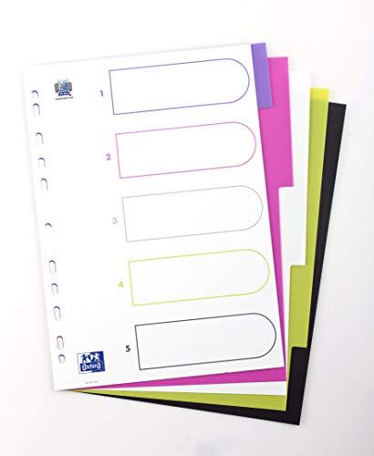 Preisvergleich Produktbild 20 x Kunststoff-Register myColour blanko 5 Blatt 5-teilig für DIN A4 Plastikregister mit beschriftbarem Deckblatt multicolor
