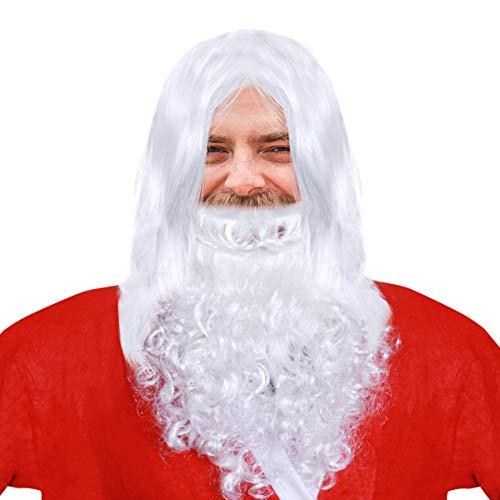 WINOMO Noël Halloween Perruque et Barbe Set Deluxe Blanc Santa Fancy Dress Costume Assistant