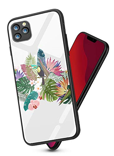 Alsoar Funda Compatible para iPhone 11 2019 (6.1 Inch) Cubiertas Suave Fina Silicona Borde de TPU Bumper + Vidrio Templado Trasera Moda Patrón Flor Case Anti-Arañazos Protectora Caso (Loro)