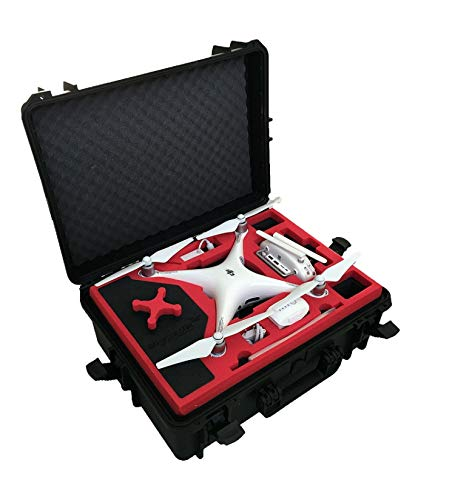 Professioneller Koffer - Transportkoffer passend für DJI Phantom 4 Professional Plus und Obsidian mit Platz für 6 Akkus + Zubehör - MC-CASES - Made in Germany - Outdoor Koffer - IP67 Wasserdicht