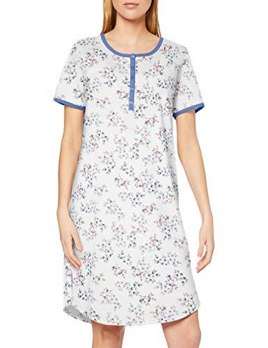 CALIDA Damen Cosy Jersey Fun Nachthemd, Blau (Atlas Blue 443), 36 (Herstellergröße:XS)