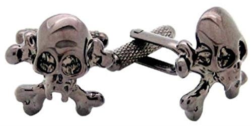& Boutons de manchette de tête de mort pirate-dans une boîte cadeau-Onyx-Art London CK823
