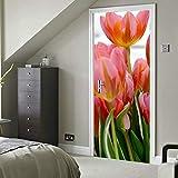 Tulipán Tulipanes Flor Naturaleza Campos de tulipanes Holanda Vinilo autoadhesivo Murales de pared extraíbles Puerta Puerta Calcomanía para aula 30x79 pulgadas (77x200cm) 2 piezas