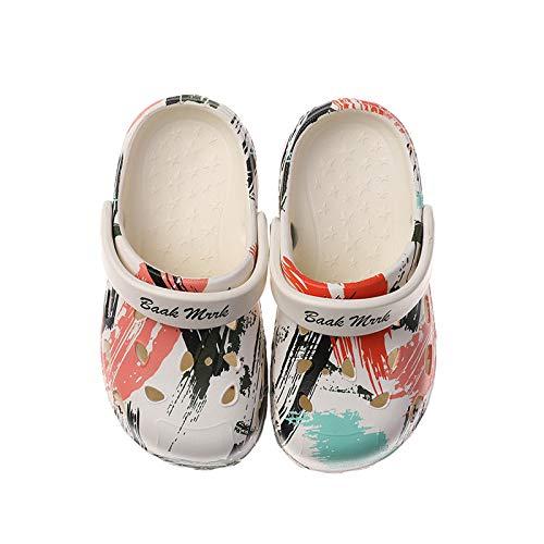 QXbecky Zapatillas pintadas de Suela Blanda Antideslizantes para niños y niñas Sandalias con Agujeros de Graffiti Lindas de Dibujos Animados Ligeros