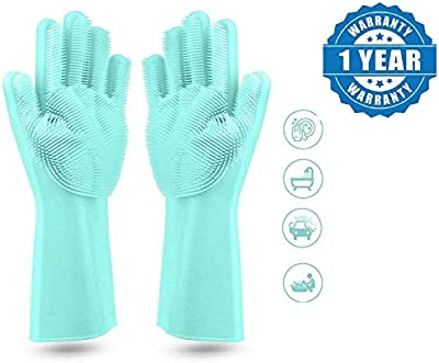 Renyke Mall Silicone Heat Resistant Rubber Dish Washing Gloves with Wash Scrubber