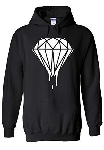 PrintPeople Dripping Diamond Logo Novelty Black Men Women Unisex Hooded Sweatshirt Hoodie-XL