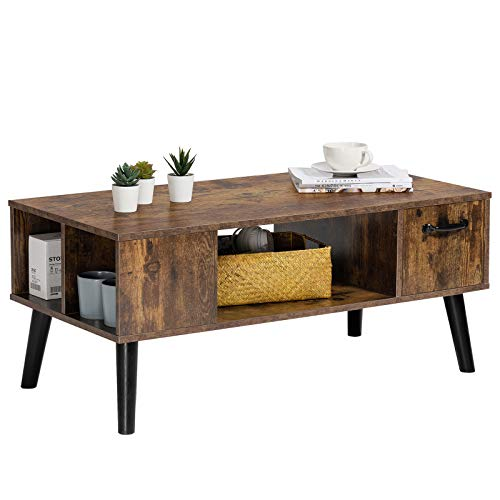 Snughome Retro Coffee Table with Storage, Mid Century Coffee Tables for Living Room, Modern Wood Look Coffee Table with Open Storage Shelf and Drawer for Home, Office, Easy Assembly, Rustic Brown