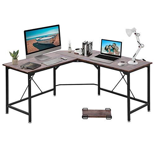 GRANDMA SHARK Corner Desk, L-Shaped Gaming Desk, Computer Desk, PC Desk, Computer Table, Office Desks for Home Working or Study (American Retro, 140×140×75 cm)