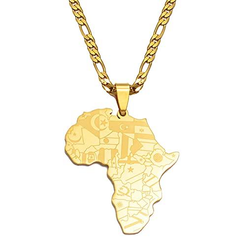 Mapa De África Collares Pendientes Mujeres Hombres, Joyería Nacional Africana Mapa Del País Africano Bandera Joyas De Color Dorado Collar De Acero Inoxidable