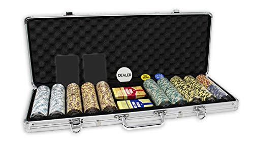 DA VINCI Monte Carlo Poker Club Set of 500 14 Gram 3 Tone Chips with Upgraded Aluminum Case, 2 Decks of Plastic Playing Cards, 2 Cut Cards, Dealer and Blind Buttons