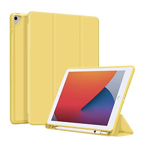 OLAIKE Estuche para iPad 7th Generation 10.2 Pulgadas 2019, Estuche tríptico y Ligero de Reposo automático/Reposo con Soporte para lápiz, Funda Trasera de TPU Suave, Amarillo