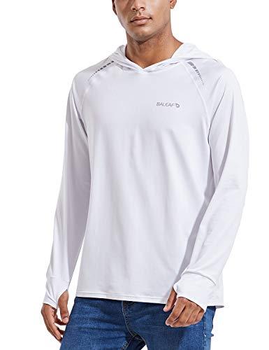 BALEAF Herren UPF 50+ Sonnenschutz Hoodie Shirt Langarm LSF/UV Dri Fit Leicht Outdoor Wandern Angeln Weiß S