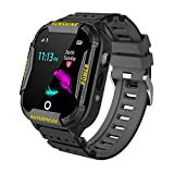 Kids Smart Watch Phone Tracker, WIFI LBS Positioning Smartwatch Phone for Girls Boys, Waterproof Anti-fall SOS alert button and Two Way Calls Safe Zones function, Gifts for children aged 4-12, BLACK