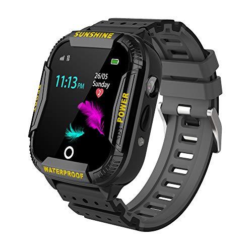 PTHTECHUS Kinder GPS WiFi Intelligente Uhr Wasserdicht, Smartwatch mit Kinder SOS Handy Touchscreen Spiel Kamera Voice Chat Wecker für Jungen Mädchen Student Geschenk Schwarz