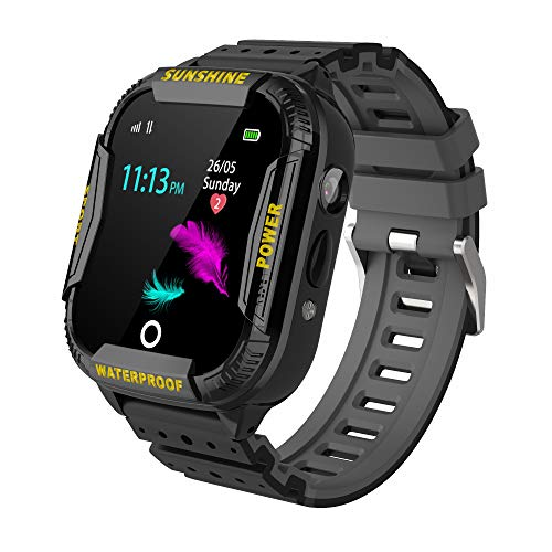 Kinder GPS WiFi Intelligente Uhr Wasserdicht, Smartwatch mit Kinder SOS Handy Touchscreen Spiel Kamera Voice Chat Wecker für Jungen Mädchen Student Geschenk Schwarz