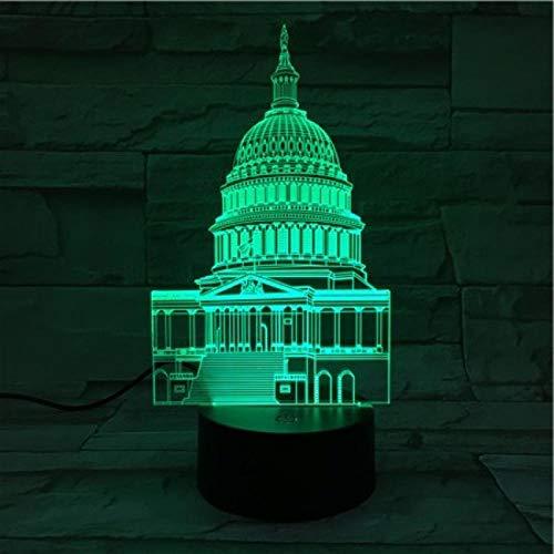Veilleuse 3D-Vue Sur La Ville White House-Touch Veilleuse Illusion 3D/Lampe De Chevet Enfant/Éclairage Intérieur/Lampe De Table Et Lampe De Chevet/Cadeau Enfant