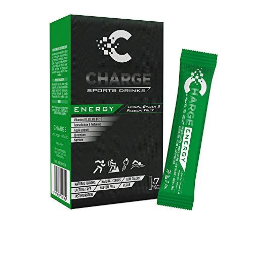 CHARGE Sportgetränke-Pulver - ENERGY - volle Ausdauer & Energie für Sportler - hypotonisch - Alternative zu isotonischen Drinks - mit Natrium, Elektrolyten & Mineralien - Zitrone - 7 Sticks