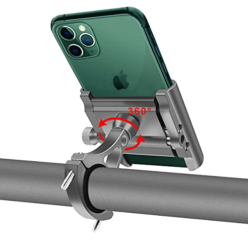 "Soporte Movil Bicicleta Aluminio Motocicleta Telefono Soporte Universal 360°Rotación Soporte Móvil Manillar para Bici Moto Compatible para iPhone, Samsung, Xiaomi, Huawei 4""-6.8""Smartphones (Plata)"