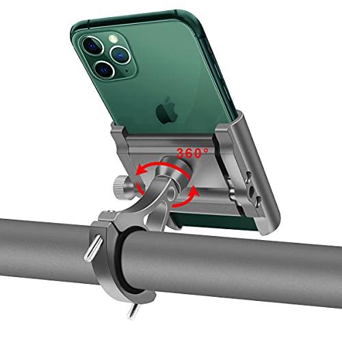 Soporte Movil Bicicleta Aluminio Motocicleta Telefono Soporte Universal 360°Rotación Soporte Móvil Manillar para Bici Moto Compatible para iPhone, Samsung, Xiaomi, Huawei 4'-6.8'Smartphones (Plata)