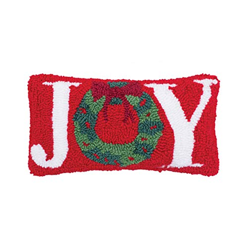 C&F Home Joy Wreath Rosy Red 12 x 6 Inch Tufted Fabric with Polyester Filling Decorative Christmas Throw Pillow