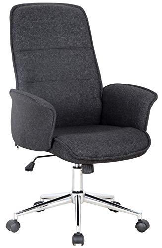 SixBros. Bürostuhl, Schreibtischstuhl mit Armlehne, Drehstuhl für's Büro oder Home-Office, stufenlos höhenverstellbar & leichtläufig, hohe Rückenlehne, Sitzbezug aus Stoff, schwarz 0704H/8392