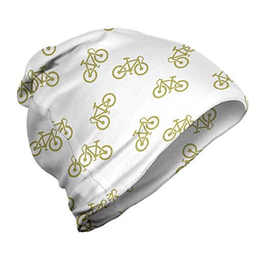 ABAKUHAUS Khaki Unisex Beanie, Einfaches Design Fahrrad-Piktogramm, Wandern im Freien, Khaki Weiß