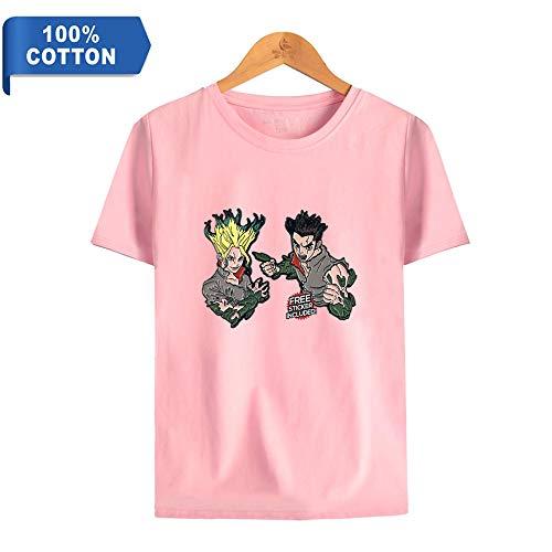 FAKDR Unisex 3D-Druck Dr.Stone T-Shirt,Halber Ärmel,Hoodies,Geeignet Für Jungen, Mädchen, Kinder, Jugendliche Rundhalsausschnitt T-Shirt,Weiches Und Bequemes Baumwollmaterial,F,S