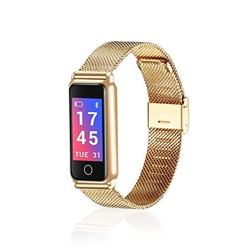 WETERS Fitness Tracker Activity Tracker Uhr Pulsmesser Wasserdicht Metall Bluetooth Farb-Bildschirm Blutdruckmessgerät Sport Armband,Gold