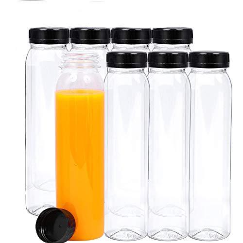 leere Glasflaschen, 8 Stück leere Saftflaschen mit Deckel, Wiederverwendbare Plastikwasserflaschen, Leere Saftflaschen,Aufbewahrung von Saft, Milch, Smoothie oder Selbstgemachten Getränken, 400 ML