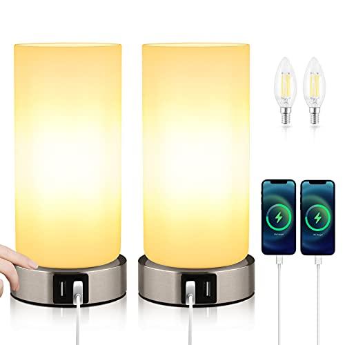 2 piezas LáMpara de Mesa, Lámpara Mesilla de Noche, E14 Lámpara Escritorio Diseño Moderno, 3 Puertos USB, Interruptores Táctiles Regulable, para Dormitorio Sala de Estar (Bombilla Incluida)…