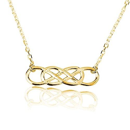 Doppelte Unendlichkeitskette Infinity Kette - Unendlich Halskette aus 750er vergoldetem 925er Silber Halskette Unendlichkeit (45 cm)