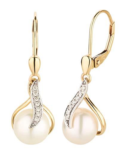 Ardeo Aurum Damen Hänge-Ohrringe aus 375 Gold bicolor Gelbgold Weißgold mit 0,07 ct Diamant Brillant 7,5 mm Perlen Brisuren Hänger Tropfen-Design