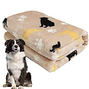 softan Dog Blanket, Fluffy Pet Blanket for Couch Sofa Wood Floor, Soft Flannel Dog Bed Blanket, Washable and Warm Blanket for Large Dog, Cat, Puppy, 39″×47″, Khaki
