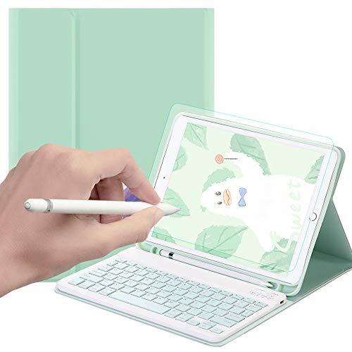 SsHhUu Keyboard Case for iPad 2018 (6th Gen) - iPad 2017 (5th Gen) - iPad Pro 9.7 - iPad Air 2 & 1, Wireless Bluetooth Detachable iPad Keyboard Case with Paper-Feel Screen Protector, Green