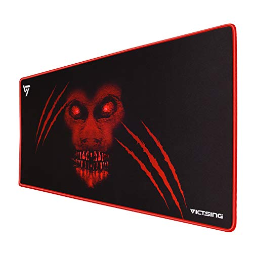 VicTsing [30% Larger] Extended Gaming Mouse Pad with Stitched Edges, Long XXL Mousepad (31.5x15.7In), Desk Pad Keyboard Mat, Non-Slip Base, Water-Resistant, for Work & Gaming, Office & Home, Red