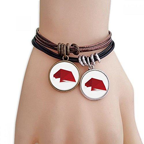 DIYthinker Damen Rot Abstract Christmas Hut Origami Armband Doppel-Leder-Seil-Armband Paar Set