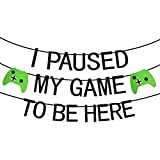 Kauayurk Video Game Party Supplies, I Paused My Game to Be Here Gaming Party Banner Decoration, Game Theme Birthday Party Banner for Kids and Boys