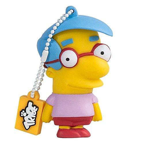 Tribe Simpsons Milhouse Chiavetta USB da 8 GB Pendrive Memoria USB Flash Drive 2.0 Memory Stick, Idee Regalo Originali, Figurine 3D, Archiviazione Dati USB Gadget in PVC con Portachiavi - Giallo
