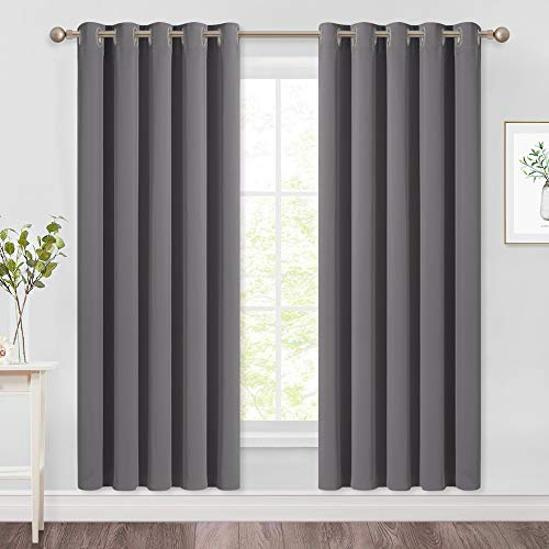 NICETOWN Blackout Curtains Panels for Bedroom - 3 Pass Microfiber Noise Reducing Thermal Insulated Solid Ring Top Blackout Window Drapes (2 Panels, 66 x 72 Inch, Gray)