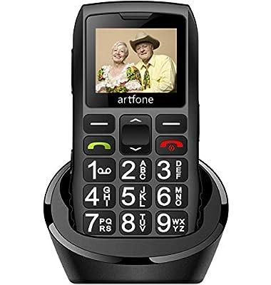 Big Button Mobile Phone for Elderly, artfone C1+ Dual SIM Unlocked, 1400mAh Battery, Unlocked Senior Mobile Phone with SOS Emergency Button, Charging Dock (Black)