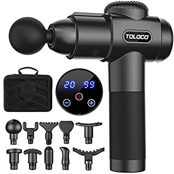 TOLOCO Massage Gun Upgrade Percussion Muscle Massage Gun for Athletes Handheld Deep Tissue Massager  Black