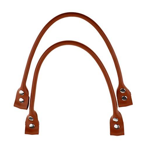 Fenteer 1 Paar Echtes Leder Taschengriff Griff Taschenzubehör Taschengriffe Taschenhenkel für Einkaufstasche Shopper Tote Handtasche - Braun