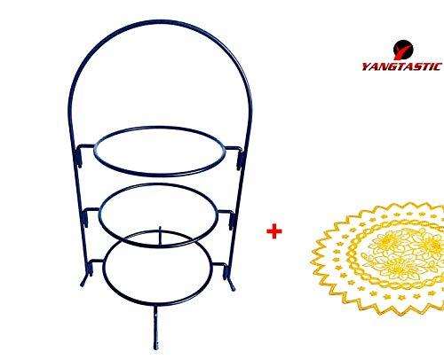 Yangtastic - Soporte apilable para tartas (3 niveles, para platos de hasta 3 x 210 mm, incluye un mantel individual redondo)-Exhibición de mesa de comida para fiestas y bodas Estante de placas